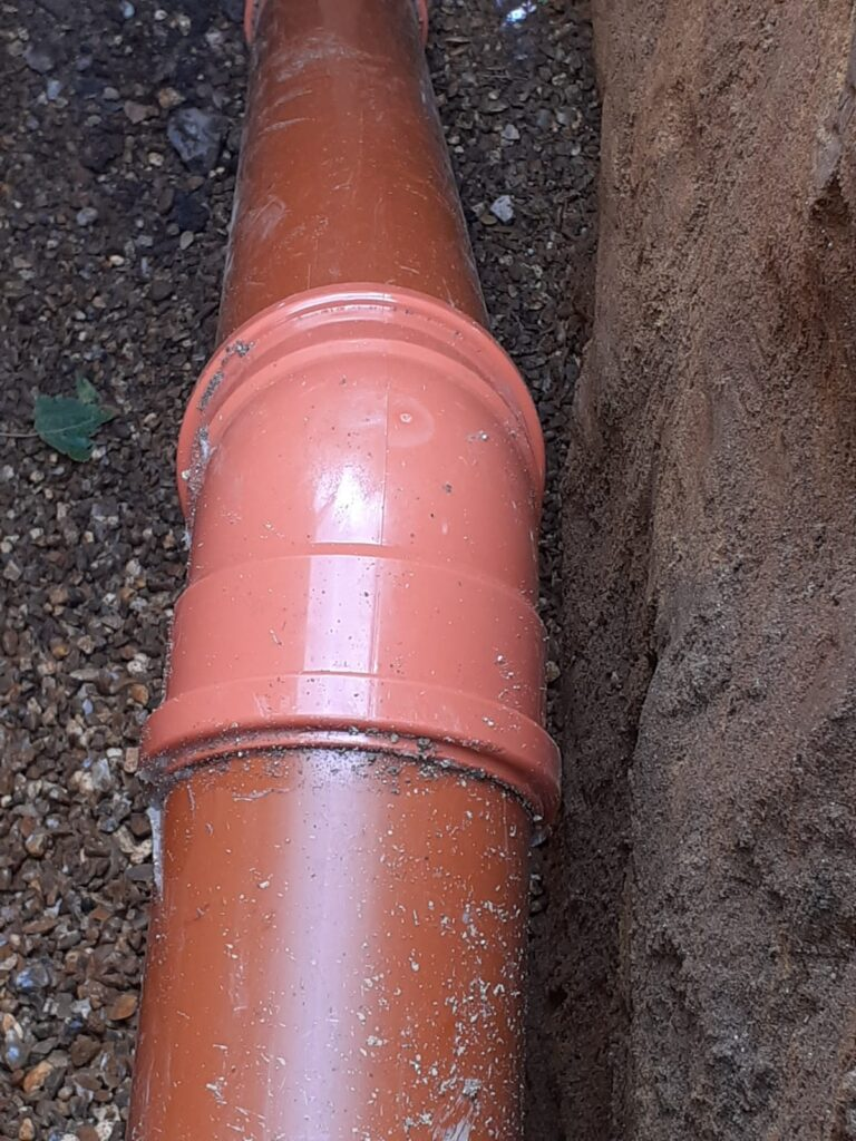 new pipework mains sewer connection